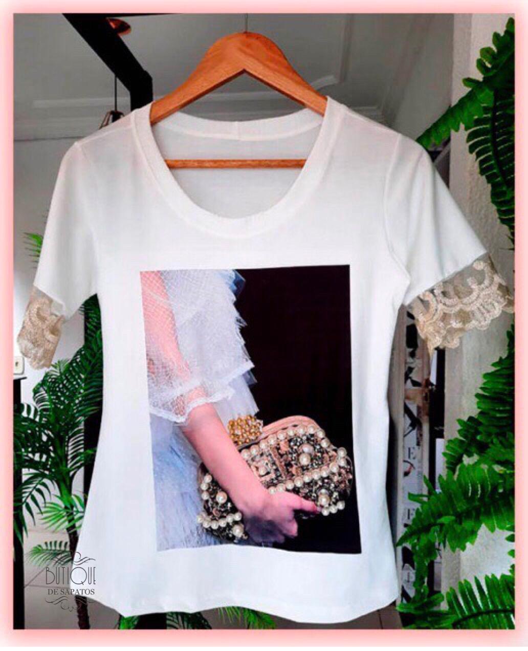 T-shirt Luxo Bolsa Pérolas 2