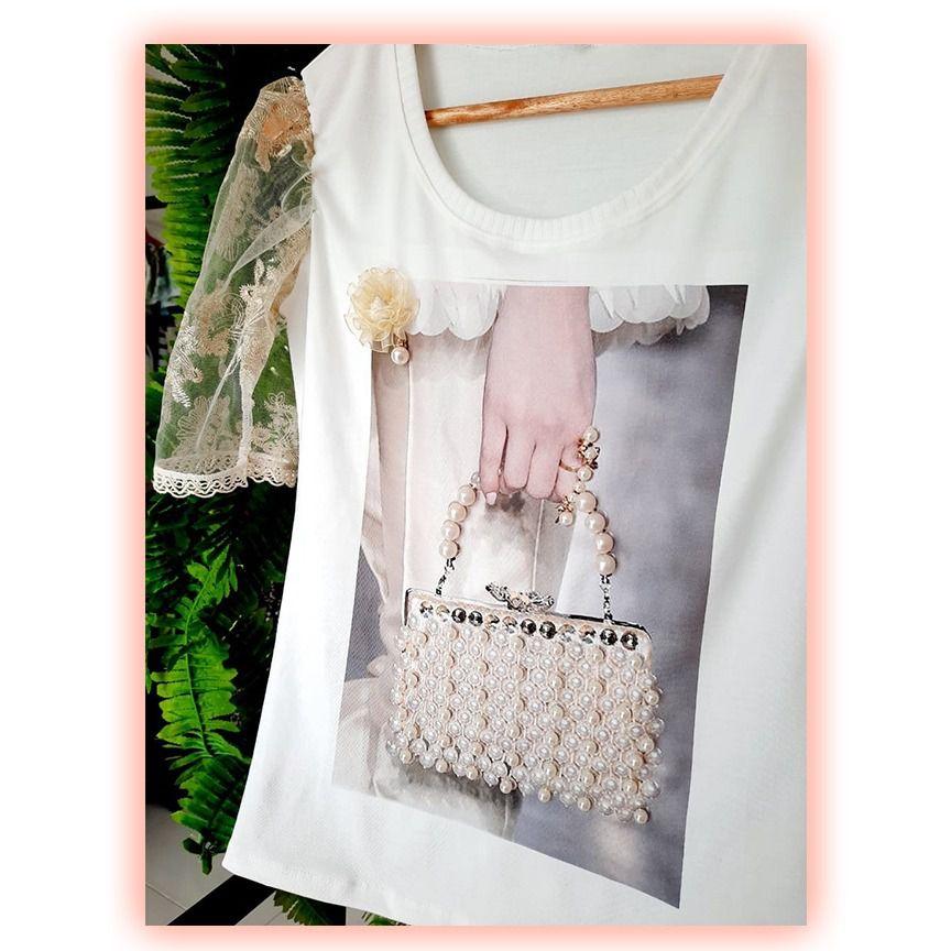 T-shirt Luxo Bolsa Pérolas
