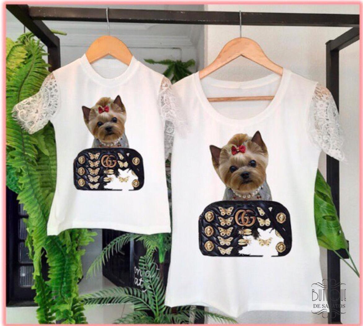 T-shirt Mãe e Filha Dog Gucci