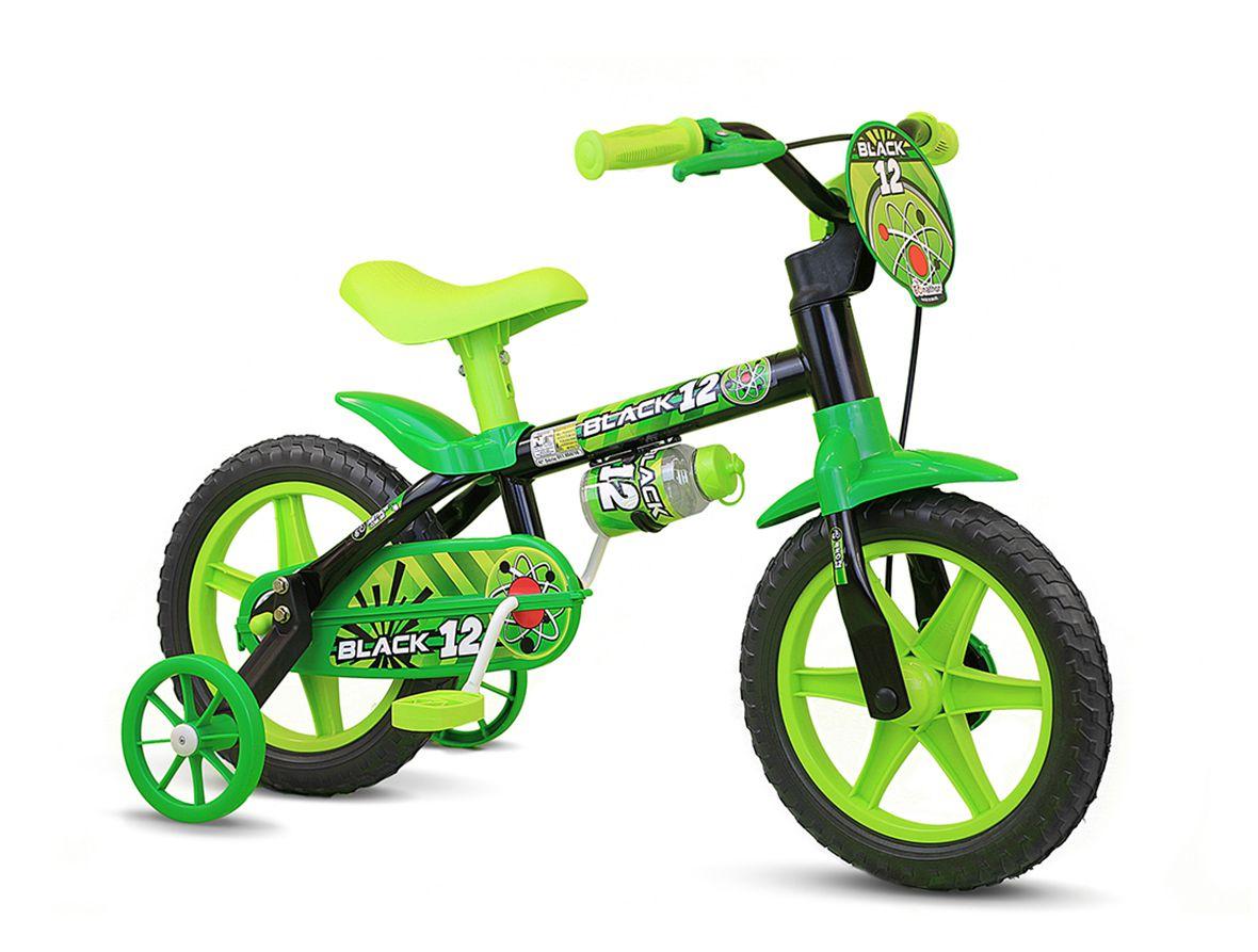 Bicicleta Bicicletinha Infantil Aro 12 Black Menino Nathor