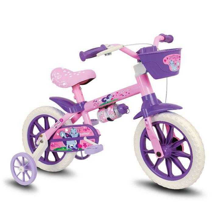 Bicicleta Infantil Aro 12 Feminina Cat Selim Pu Macio Rosa