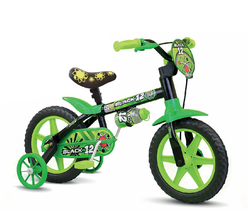 Bicicleta Infantil Aro 12 Masculino Black Selim Pu Macio