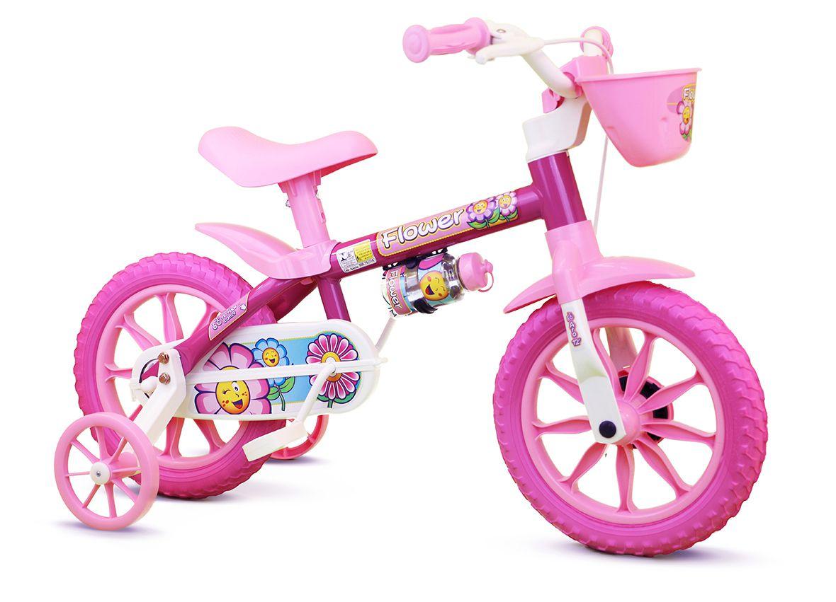 Bicicleta Infantil Feminina Aro 12 Nathor Flower Rosa