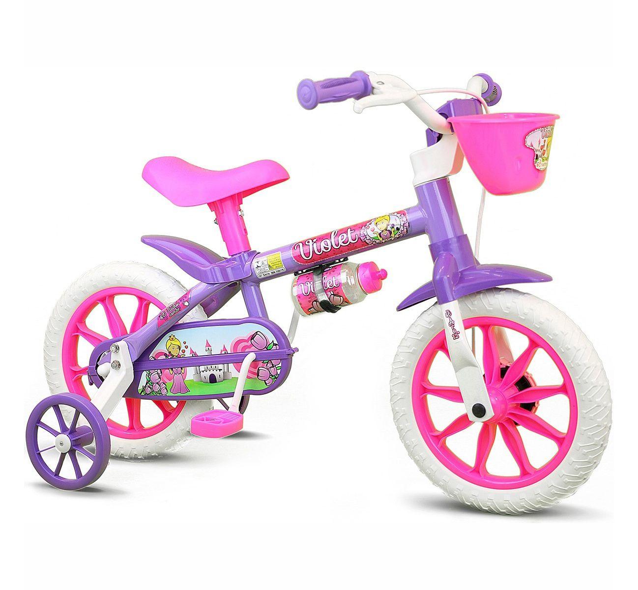 Bicicleta Infantil Feminina Aro 12 Nathor Violet Lilás