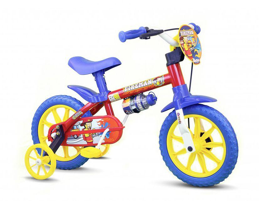 Bicicleta Infantil Masculino Aro12 Nathor Fireman Vermelha