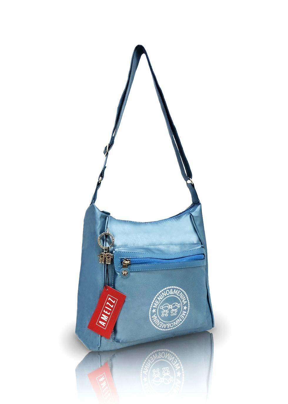 Bolsa Juvenil Feminina Transversal Metalizada Azul Fashion