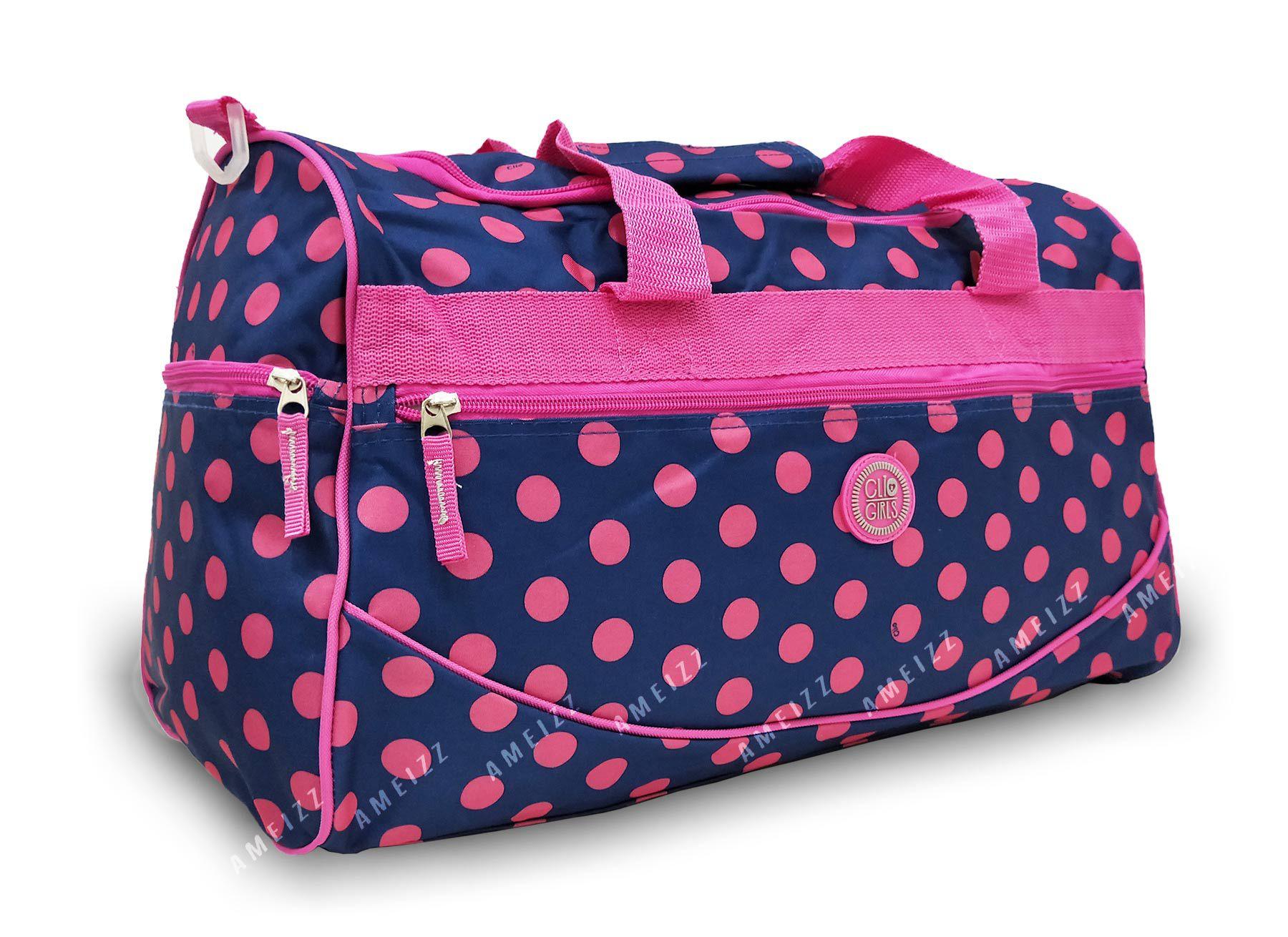 Bolsa Mala Feminina Academia Clio 9186 Grande Azul Bolinhas