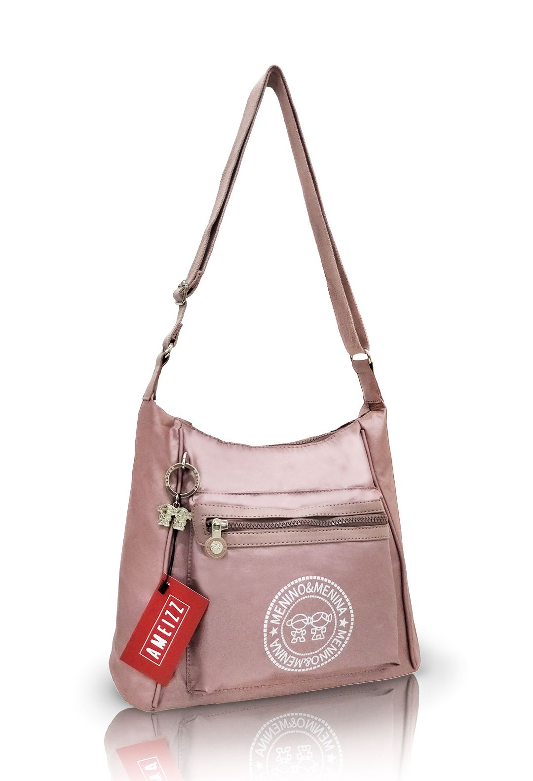 Bolsa Transversal Feminina Passeio Fashion Metalizada Rosa