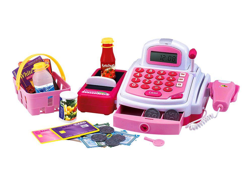 Caixa Registradora Acessórios E Som Infantil Completo Rosa