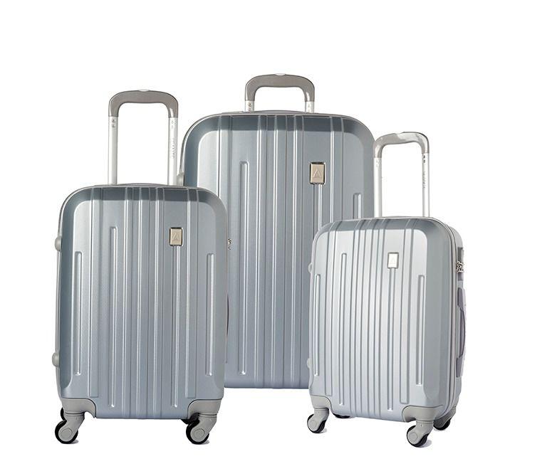 Conjunto 3 Malas Viagem ABS Rígida 14173 Rodinhas 360° Prata