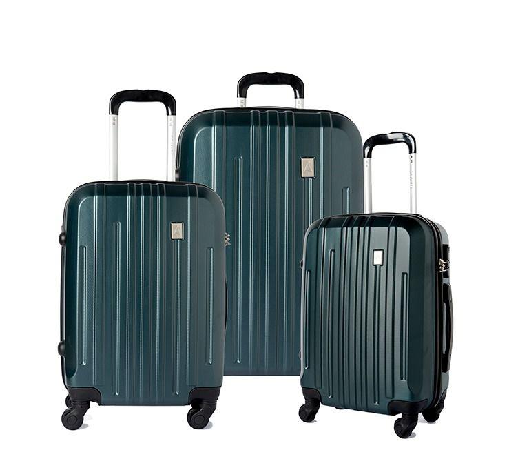 Conjunto 3 Malas Viagem ABS Rígida 14173 Rodinhas 360° Verde