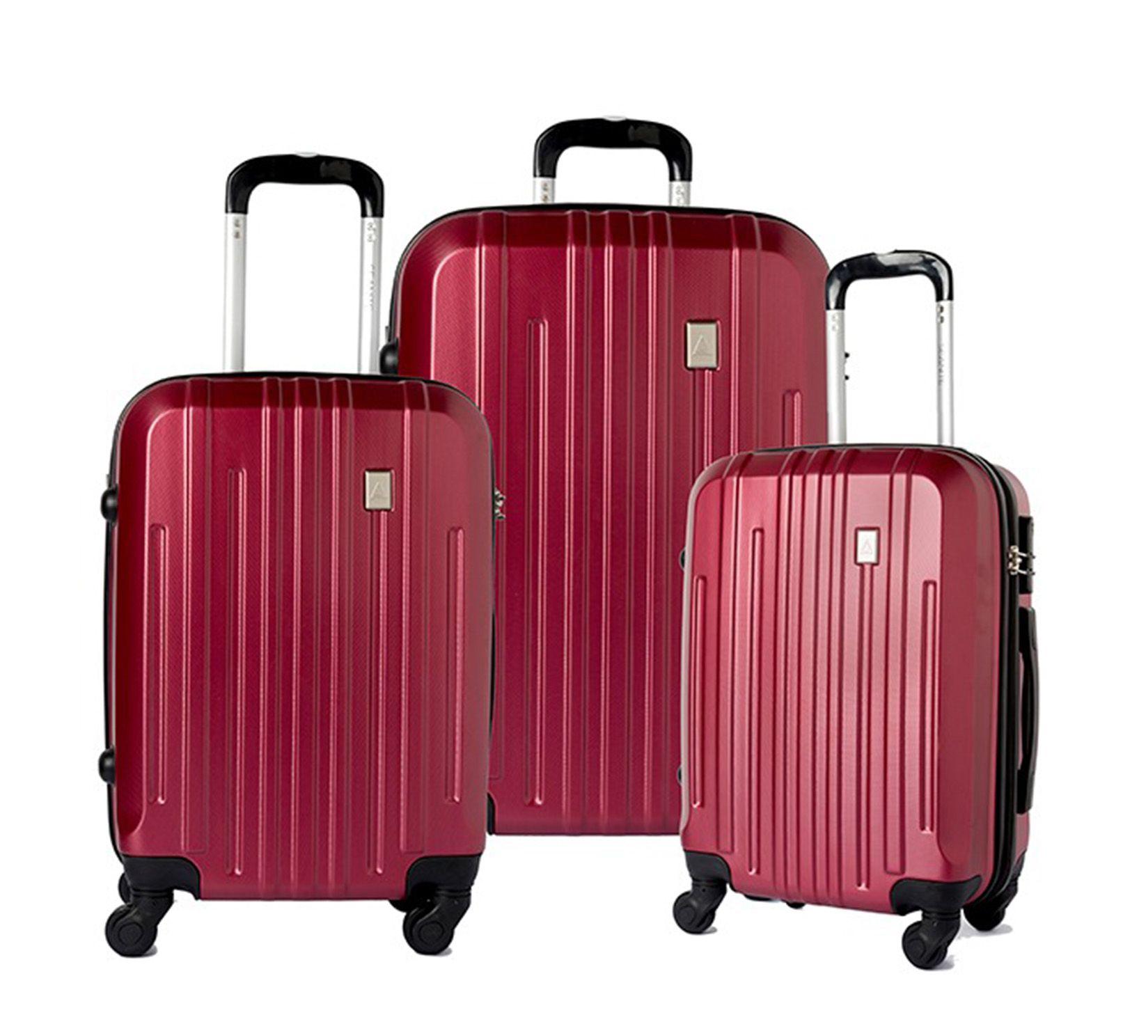 Conjunto 3 Malas Viagem ABS Rígida 14173 Rodinhas 360° Vinho