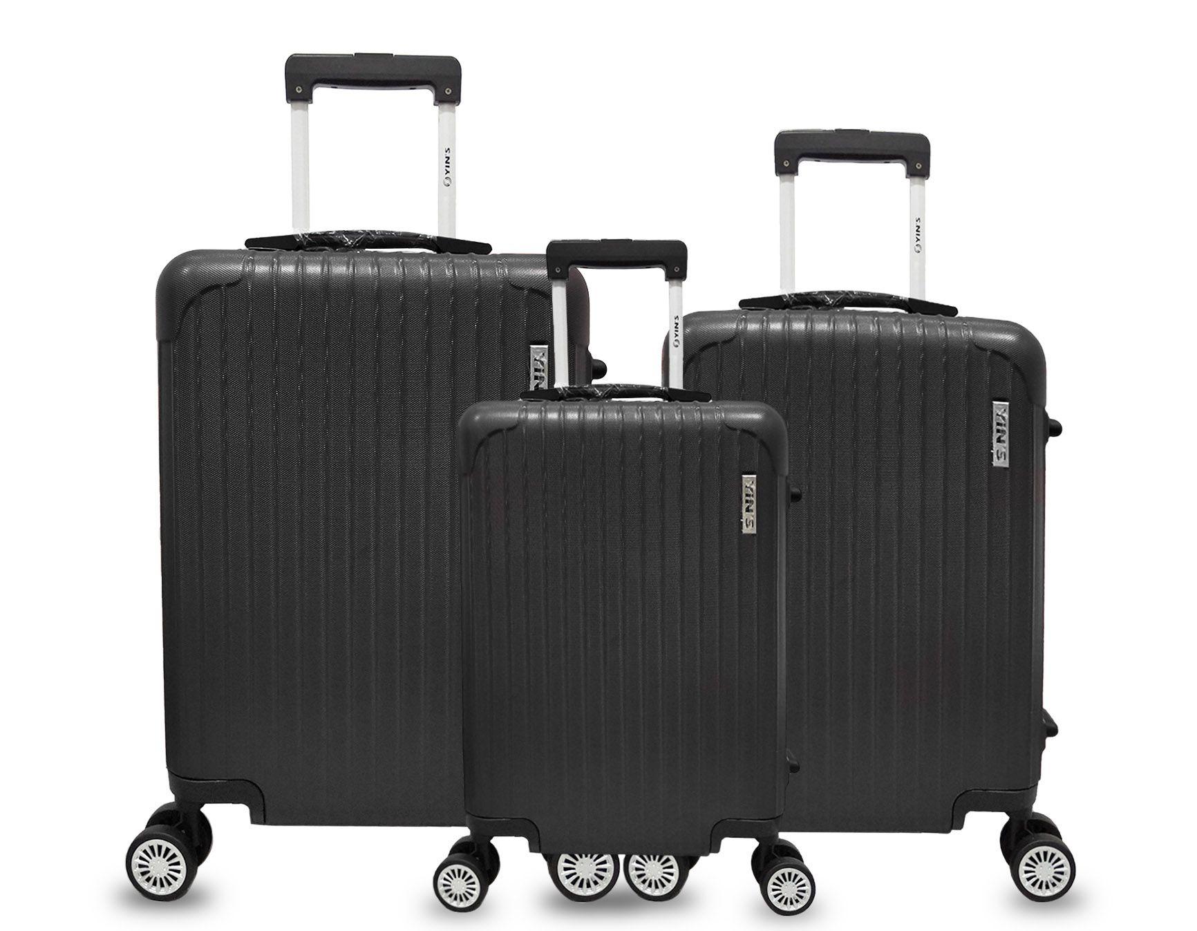 Conjunto 3 Malas Viagem ABS Rígida Rodinhas 360 Cadeado TSA