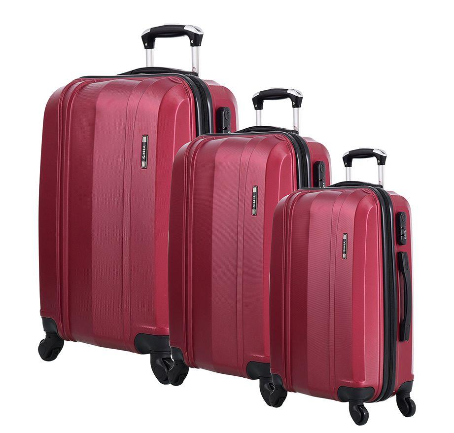 Conjunto 3 Malas Viagem C/ Rodinhas ABS 21015 P/M/G Vermelho