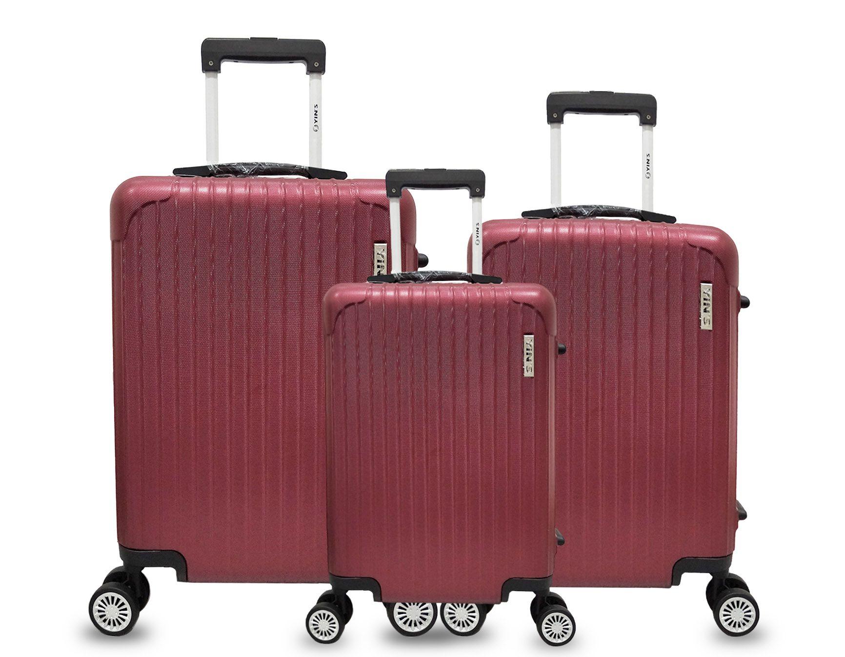 Conjunto Malas Viagem ABS Rodinhas 360 Cadeado TSA Vermelha