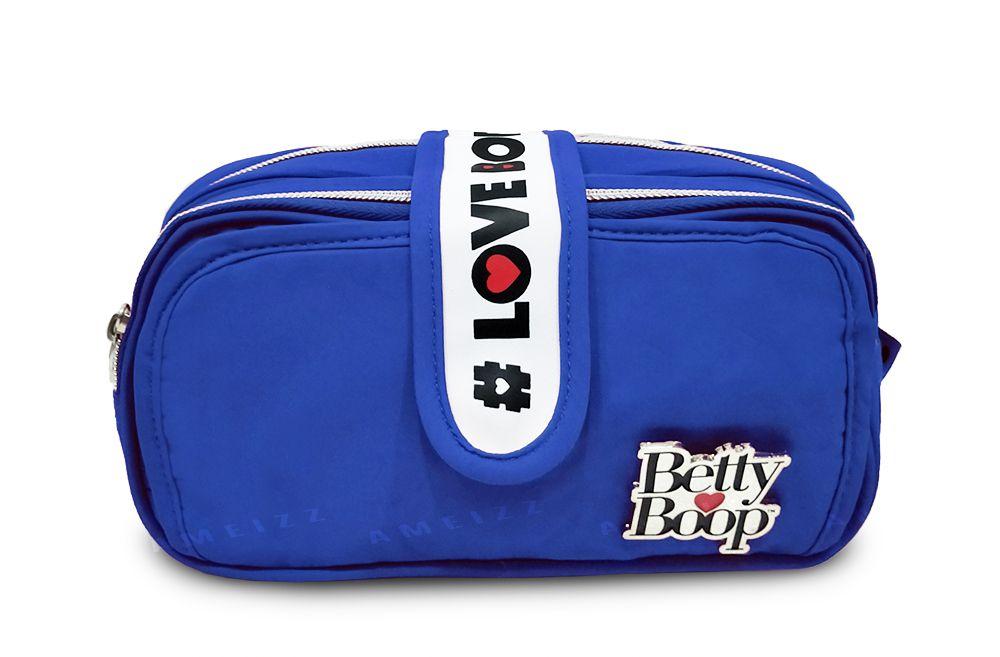 Estojo Betty Boop Feminina Duplo Zíper BP2310 Fashion Azul