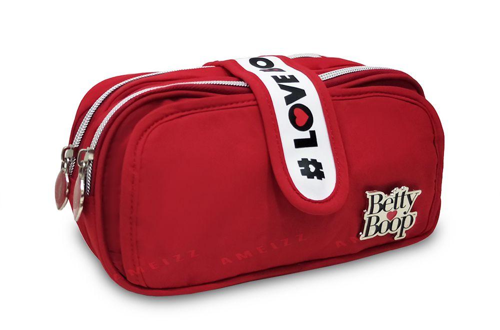 Estojo Betty Boop Feminina Duplo Zíper Fashion Vermelha