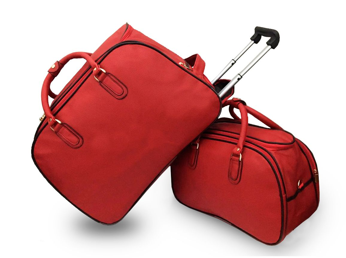 Kit Mala De Viagem Grande Com Rodinhas Com Bolsa Vermelha