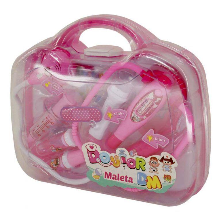 Kit Médico Maleta Doutora Infantil Brinquedo C/ Som Luz Rosa