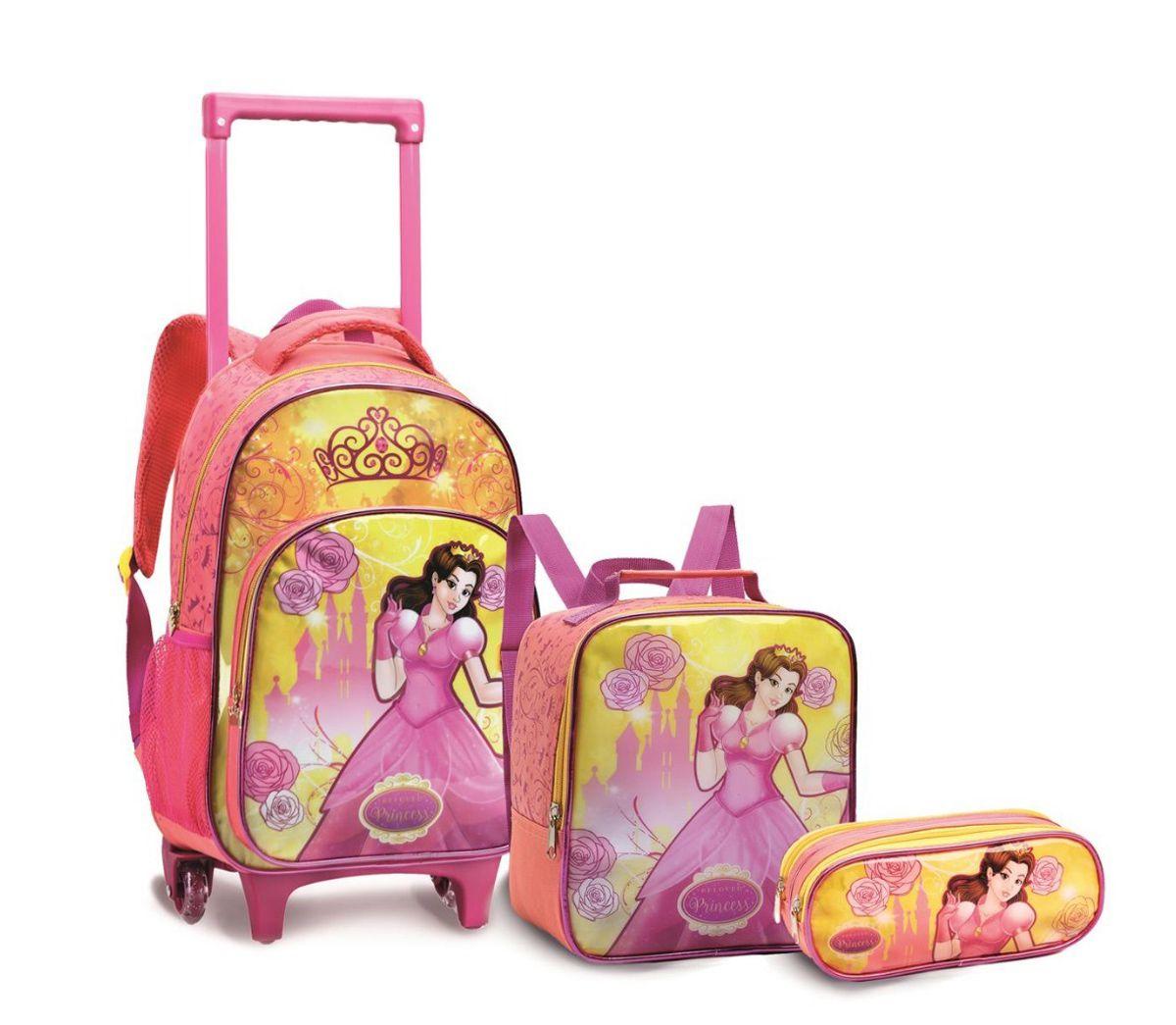 Kit Mochila Carrinho Infantil Menina 13951 Princesas Amarelo