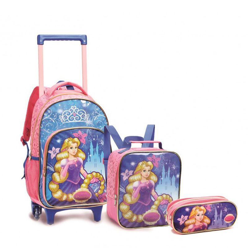 Kit Mochila Com Carrinho Infantil Seanite Kit13951 Princesas
