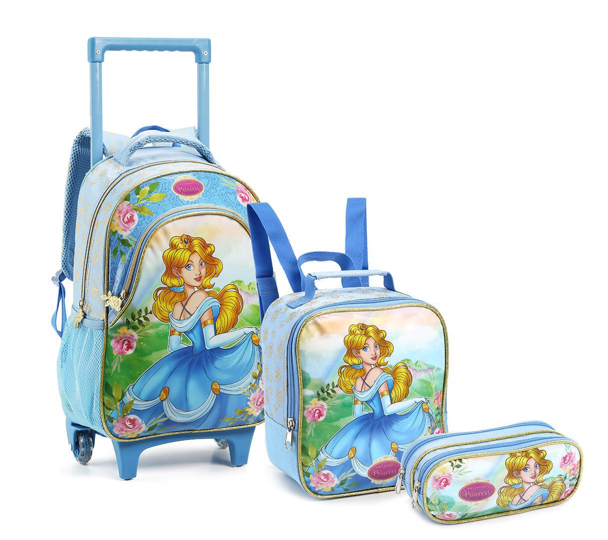 Kit Mochila Com Rodinhas Infantil Feminina Princesa KT14550