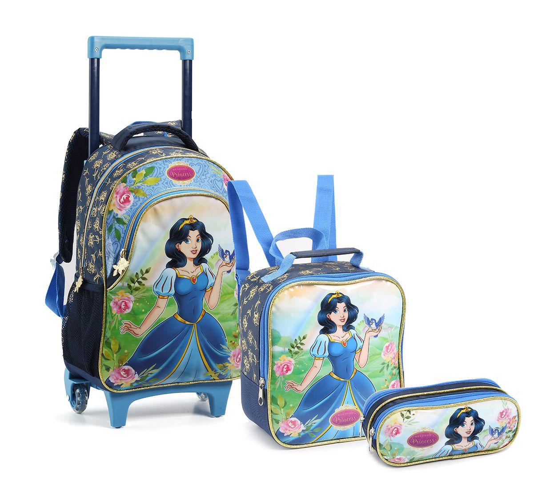 Kit Mochila Com Rodinhas Infantil Princesa 14550 Azul Royal