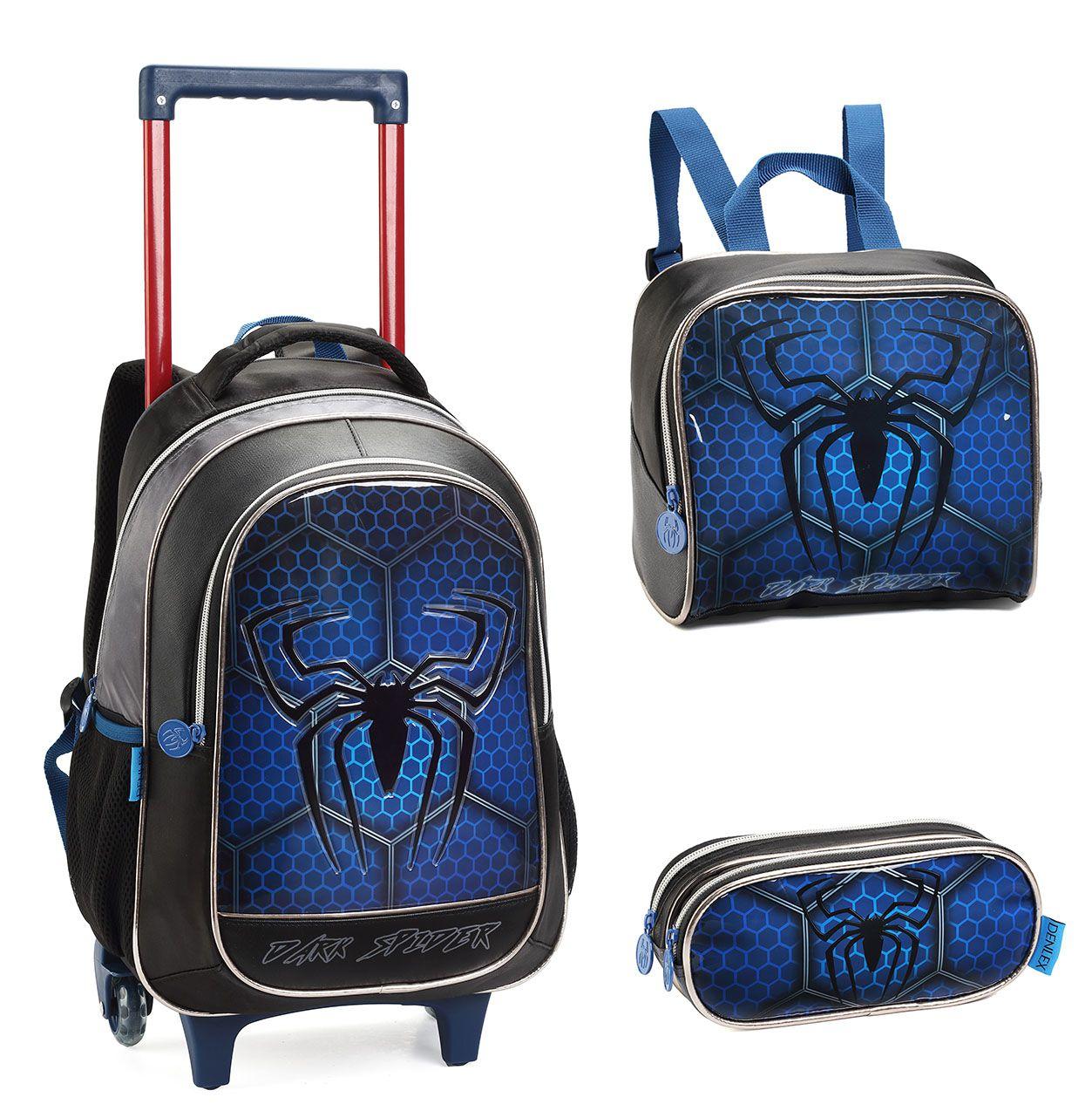 Kit Mochila Escolar Infantil Masculino Dark Spider 0625 Azul