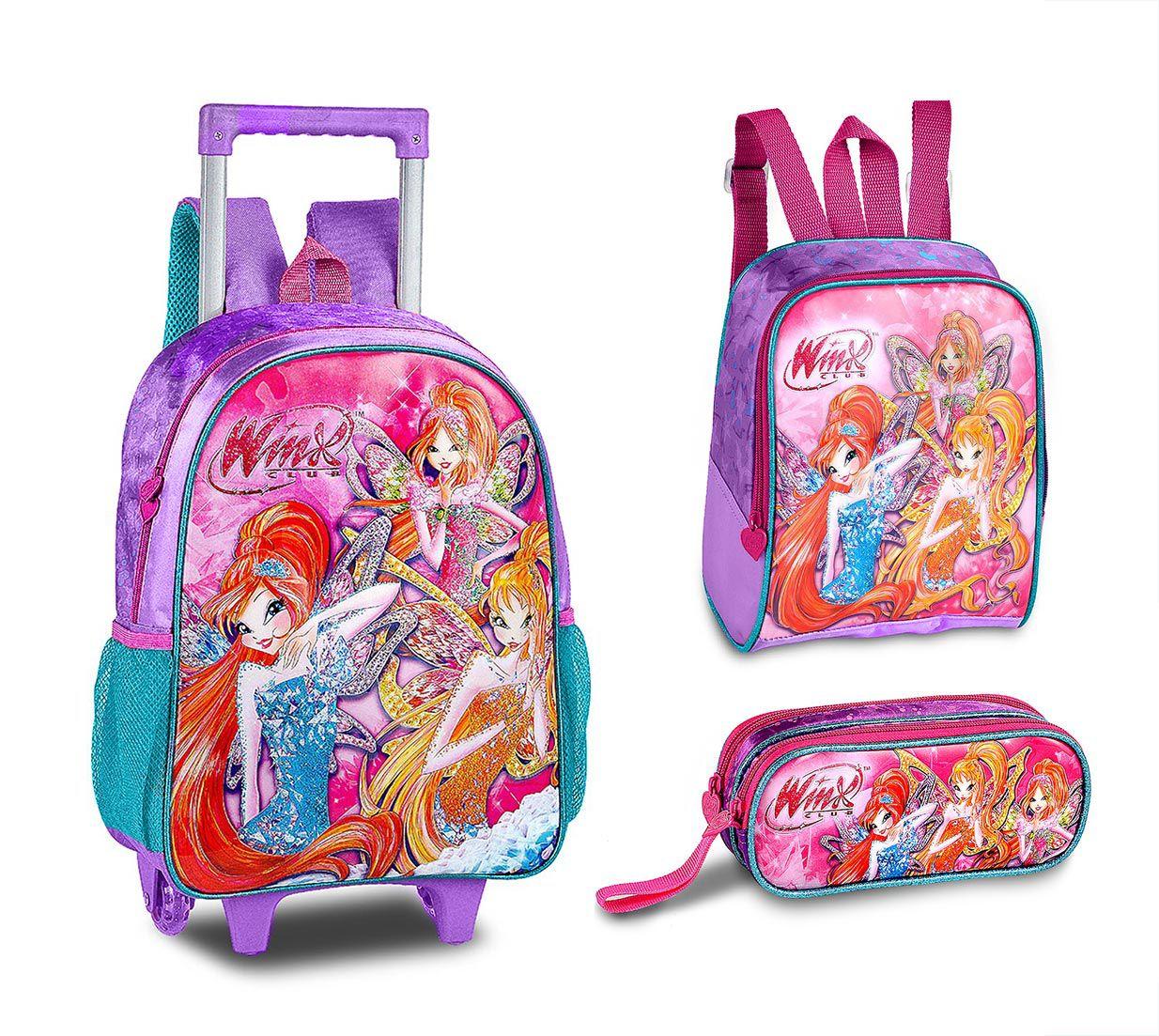 Kit Mochila Escolar Infantil Winx Fadas WX9207 Feminina