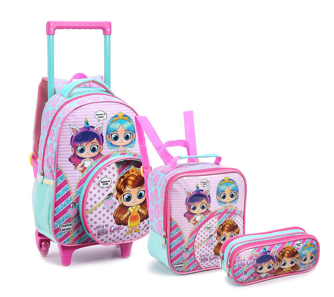Kit Mochila Rodinha Infantil Feminina Hey Little Girls