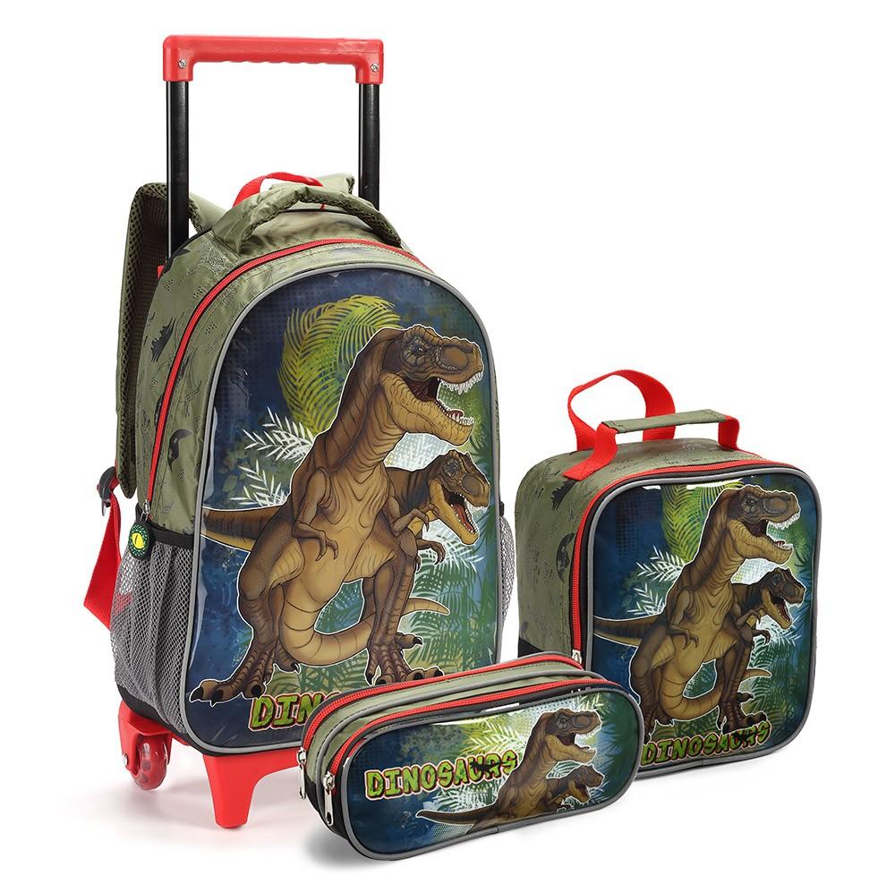 Kit Mochila Rodinhas Infantil Masculino 15354 Dinossauro