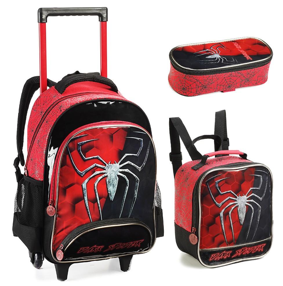 Kit Mochila Rodinhas Infantil Masculino Dark Spider 2021