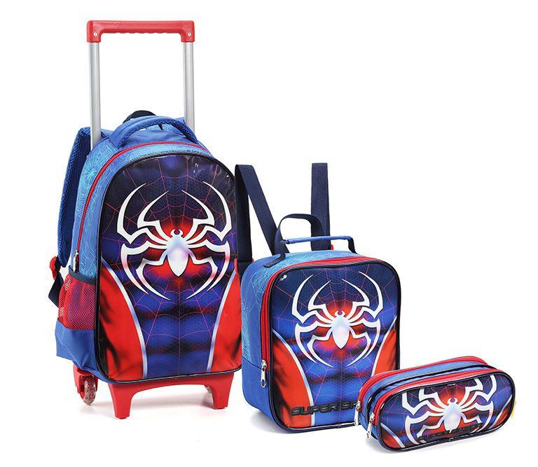 Kit Mochila Rodinhas Infantil Masculino Dark Spider Seanite