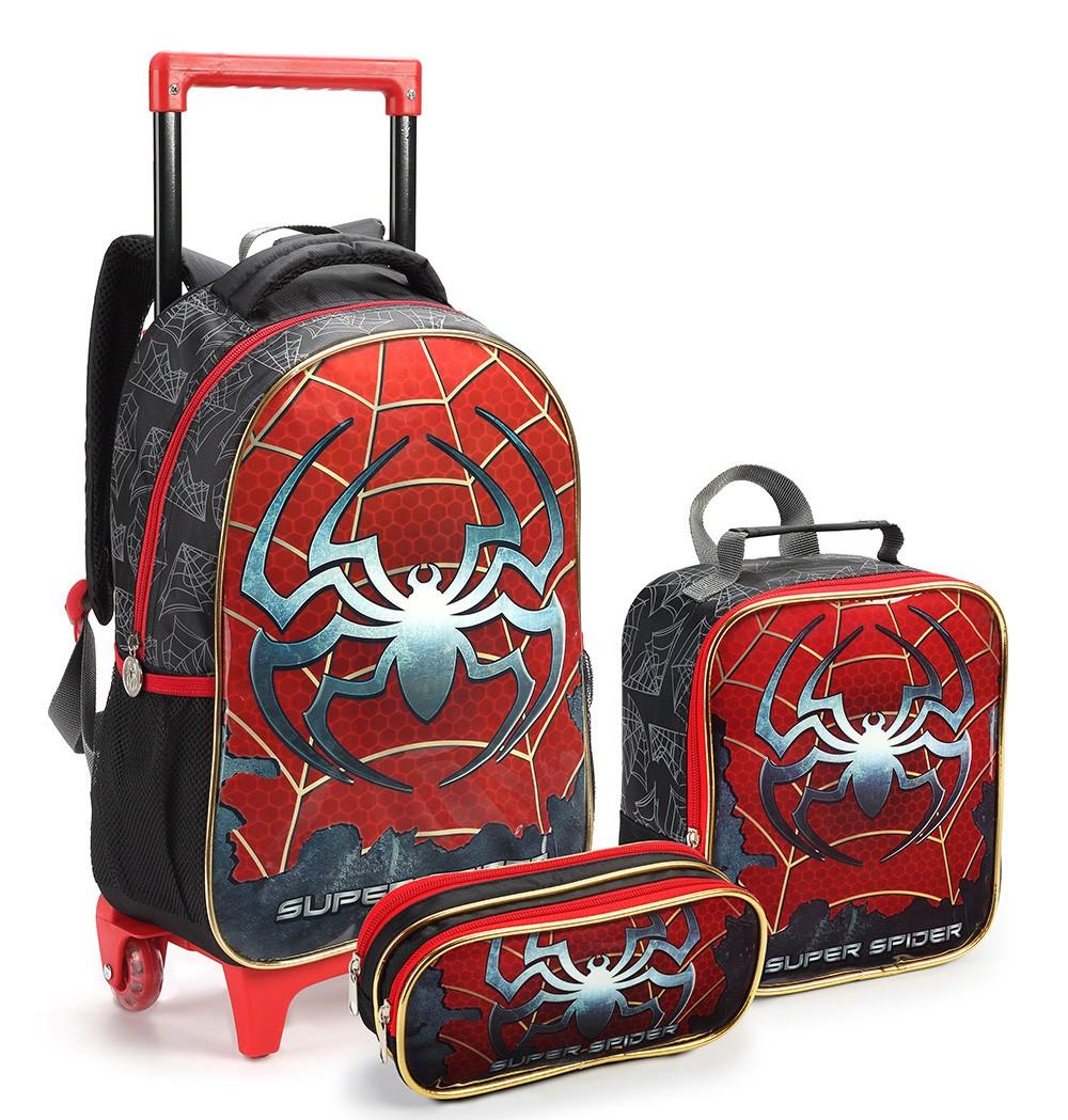 Kit Mochila Rodinhas Infantil Menino Super Spider Seanite