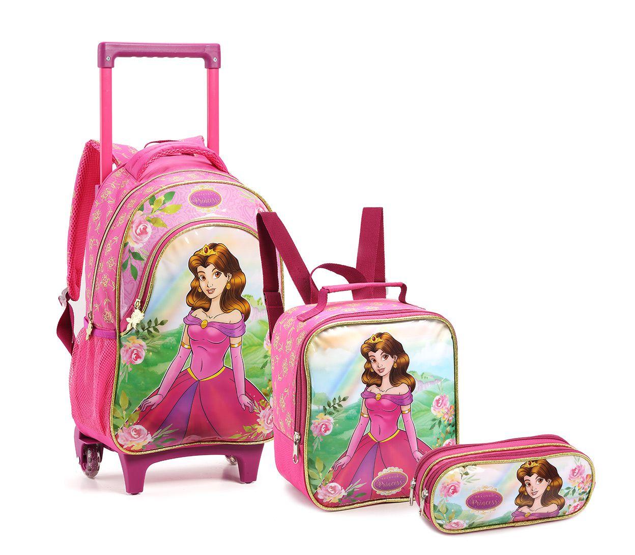Kit Mochila Rodinhas Infantil Princesa Seanite Kt14550 Rosa