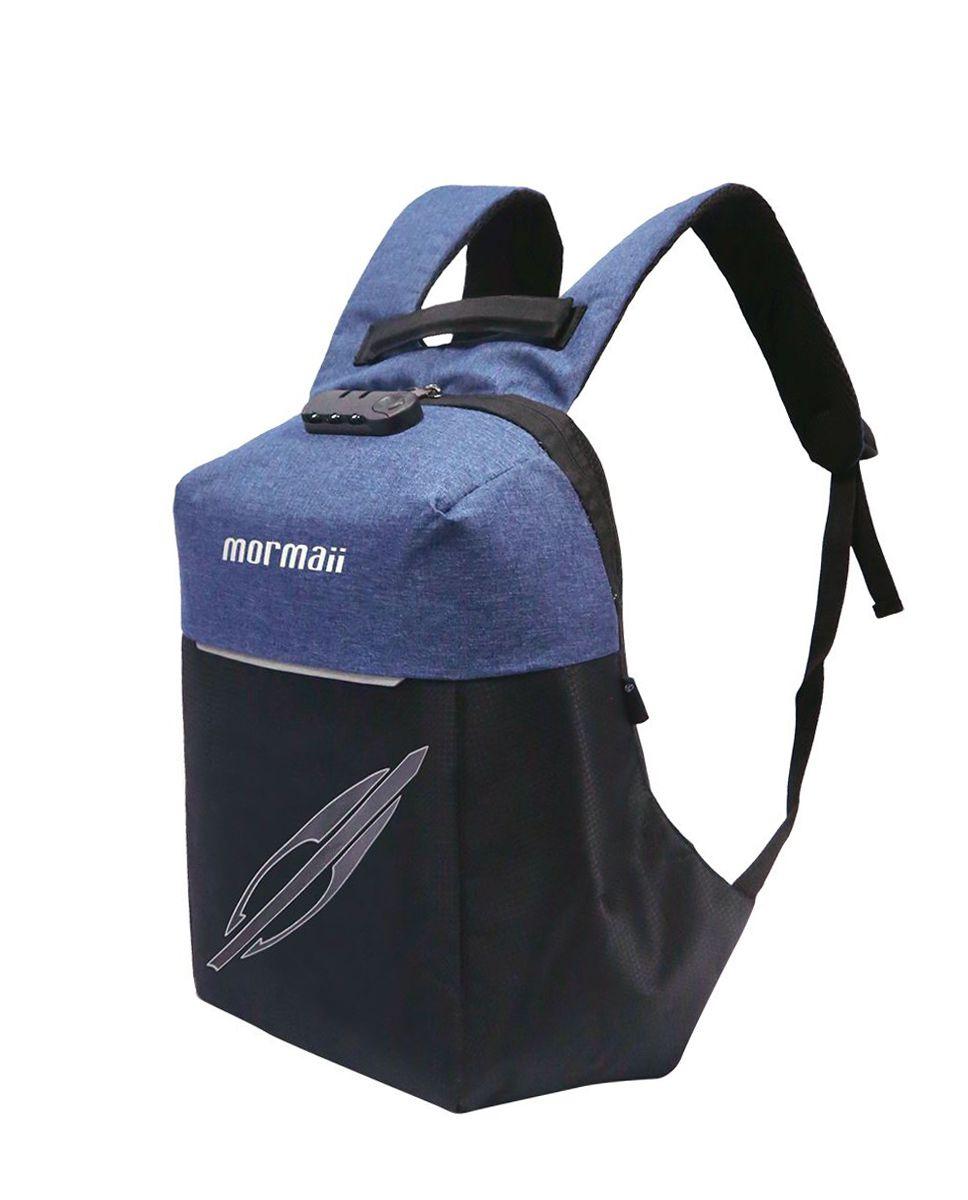 Mochila Antifurto Mormaii Com Cadeado Segredo Azul Preto