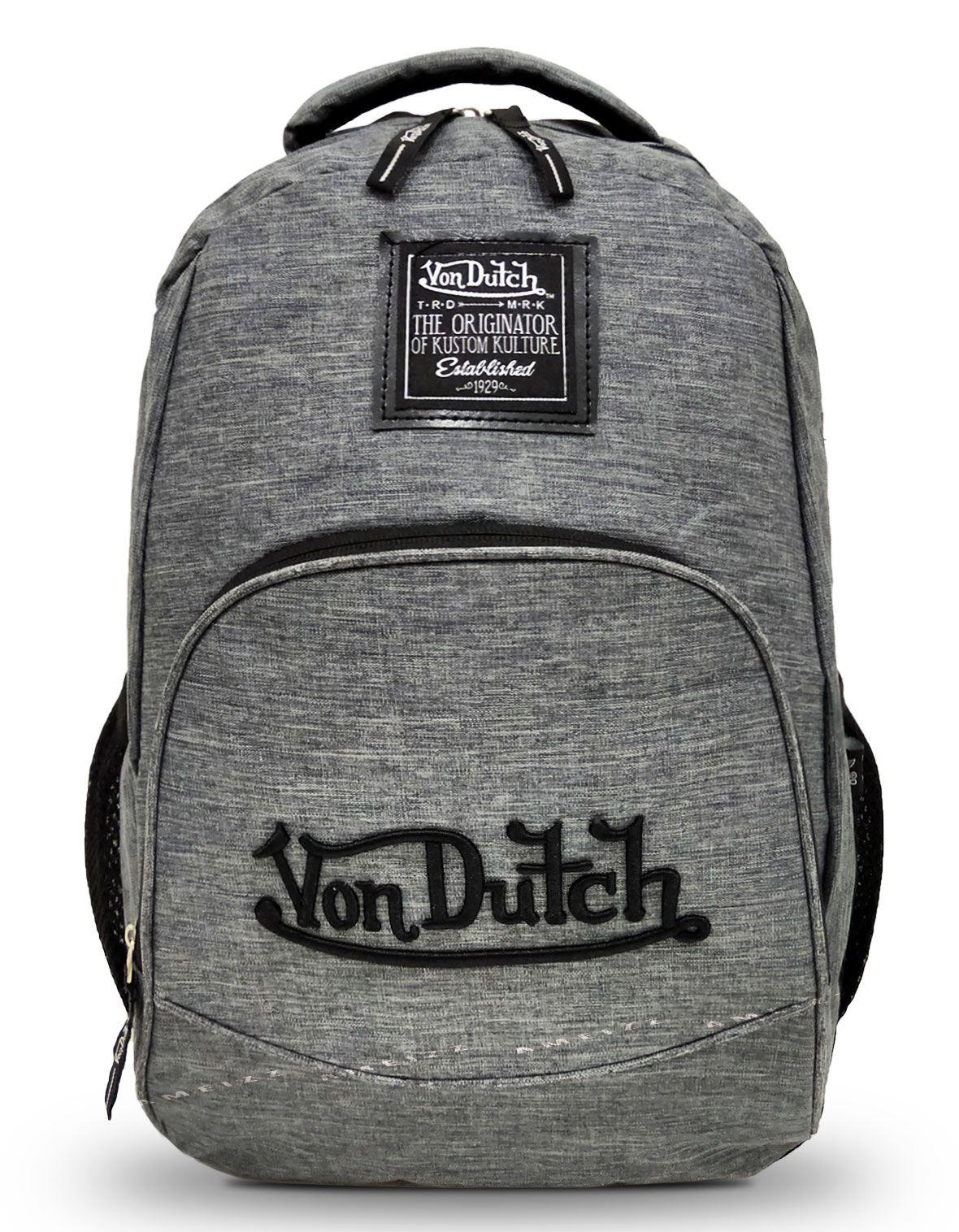 Mochila Backpack Von Dutch 183009 Juvenil Resistente Cinza