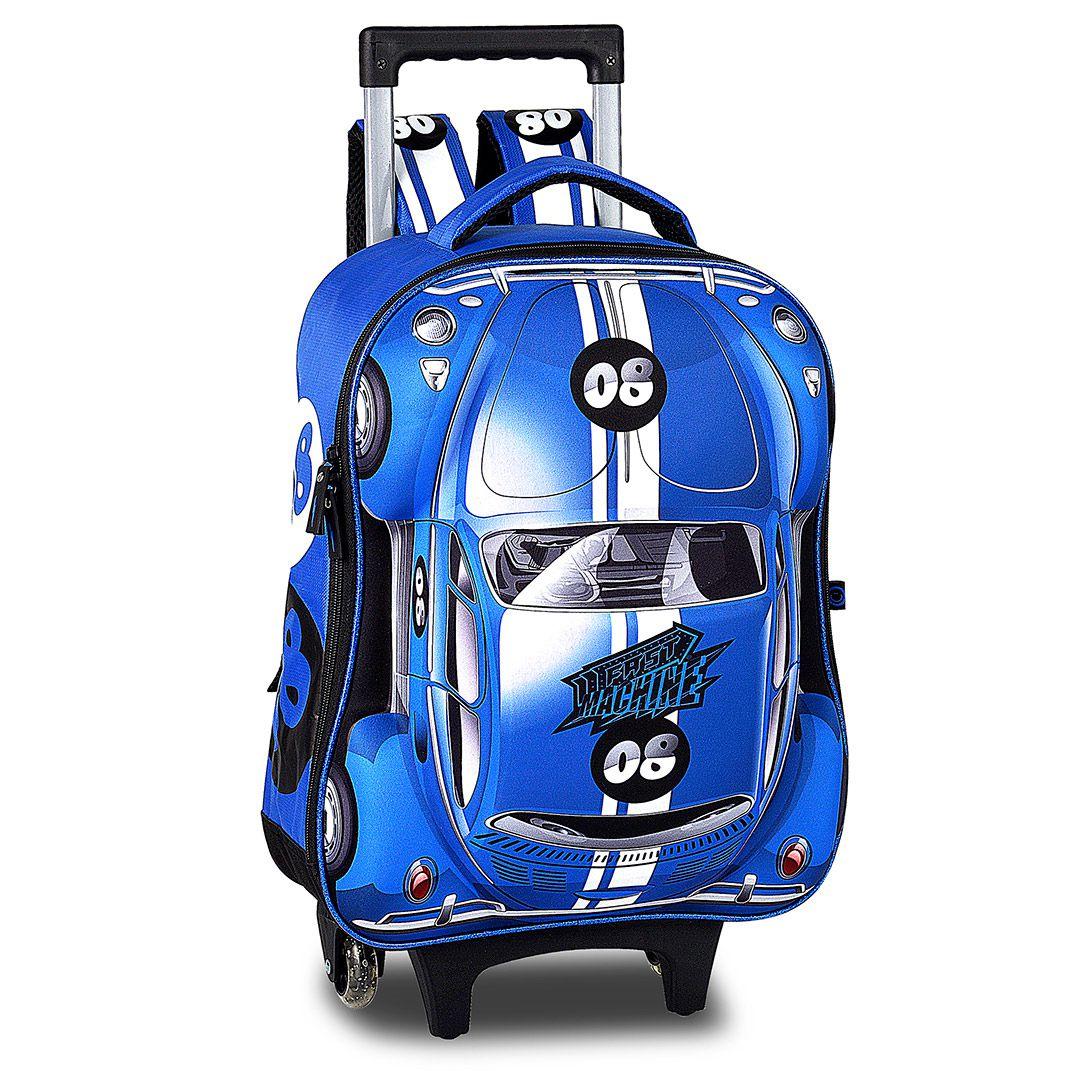 Mochila Com Rodinhas Infantil 3D Carro Suporte Removível