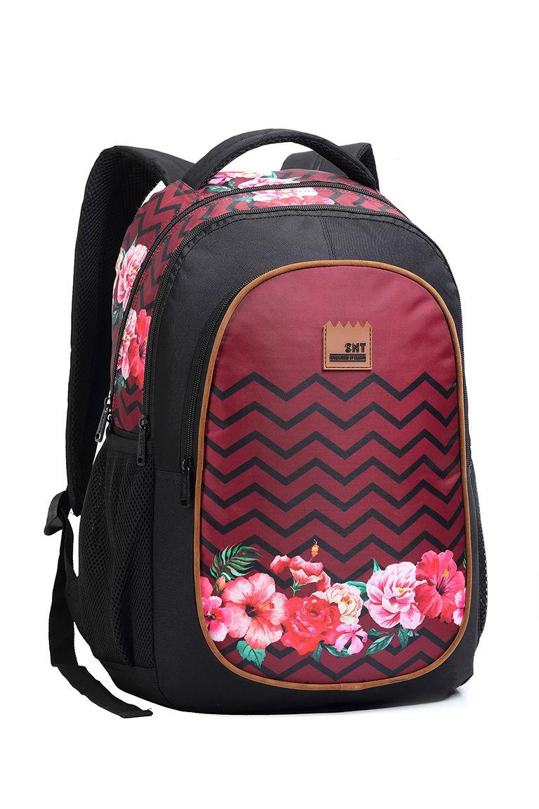 Mochila De Costas Casual Escolar MJ14062 Florido Vermelho