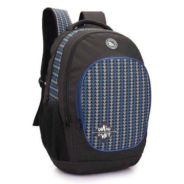Mochila Escolar Denlex 0082 Unissex Preto Com Azul Promoção