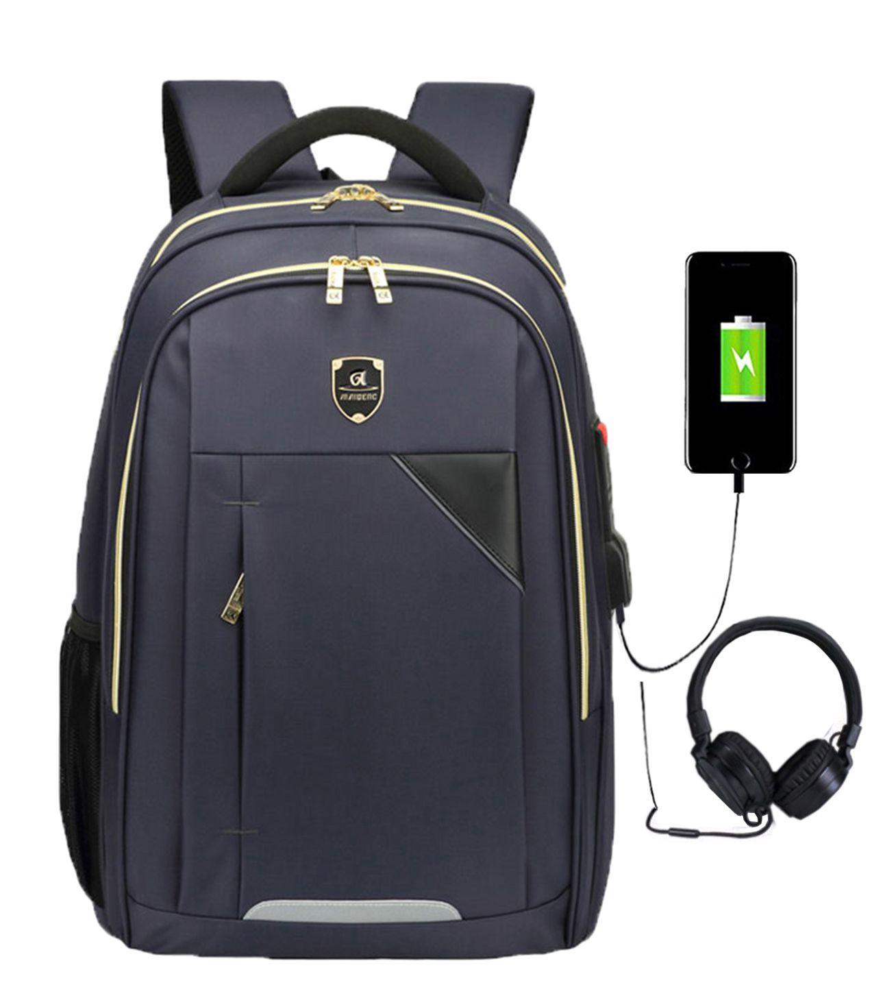 Mochila Escolar Impermeável Saída USB Fone 1802 Azul Top