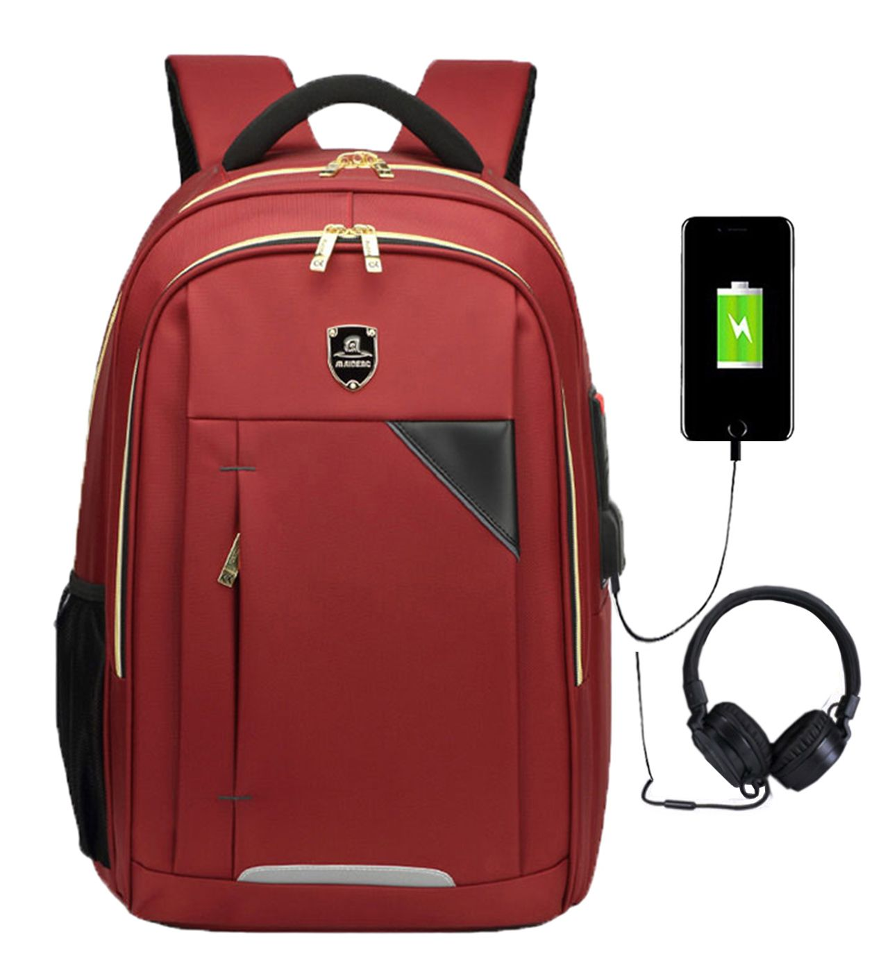 Mochila Escolar Impermeável Saída USB Fone 1802 Vermelho