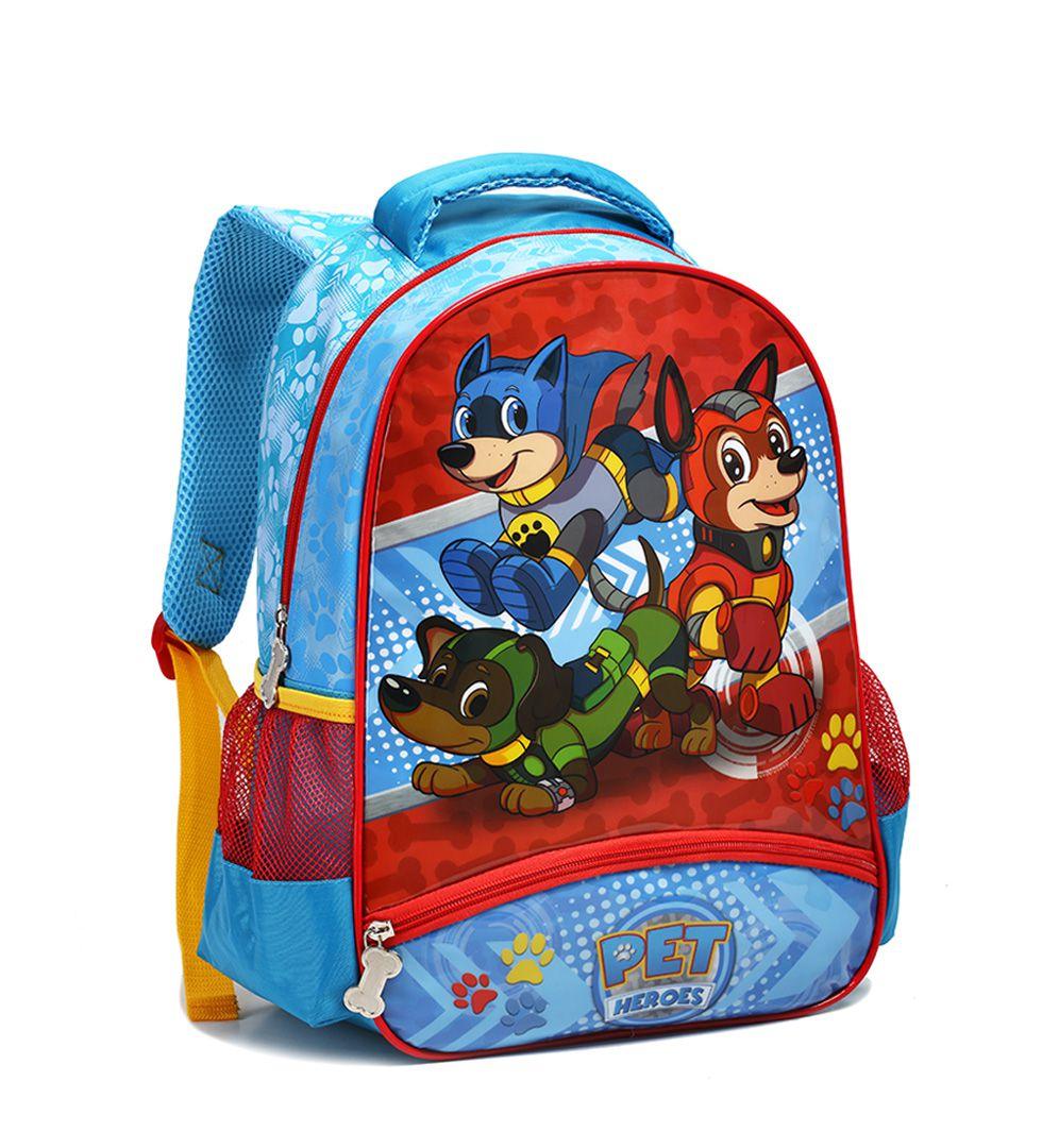 Mochila Escolar Infantil Pet Heroes Seanite MI14005 Azul