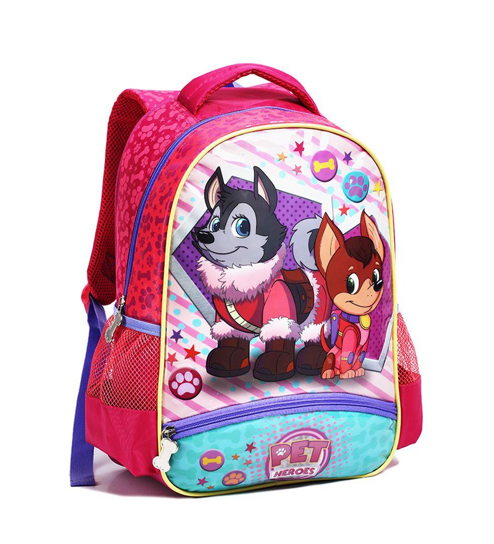 Mochila Escolar Infantil Pet Heroes Seanite MI14005 Rosa