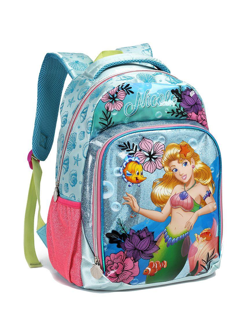Mochila Escolar Infantil Sereia Nicole Seanite MI13904 Azul