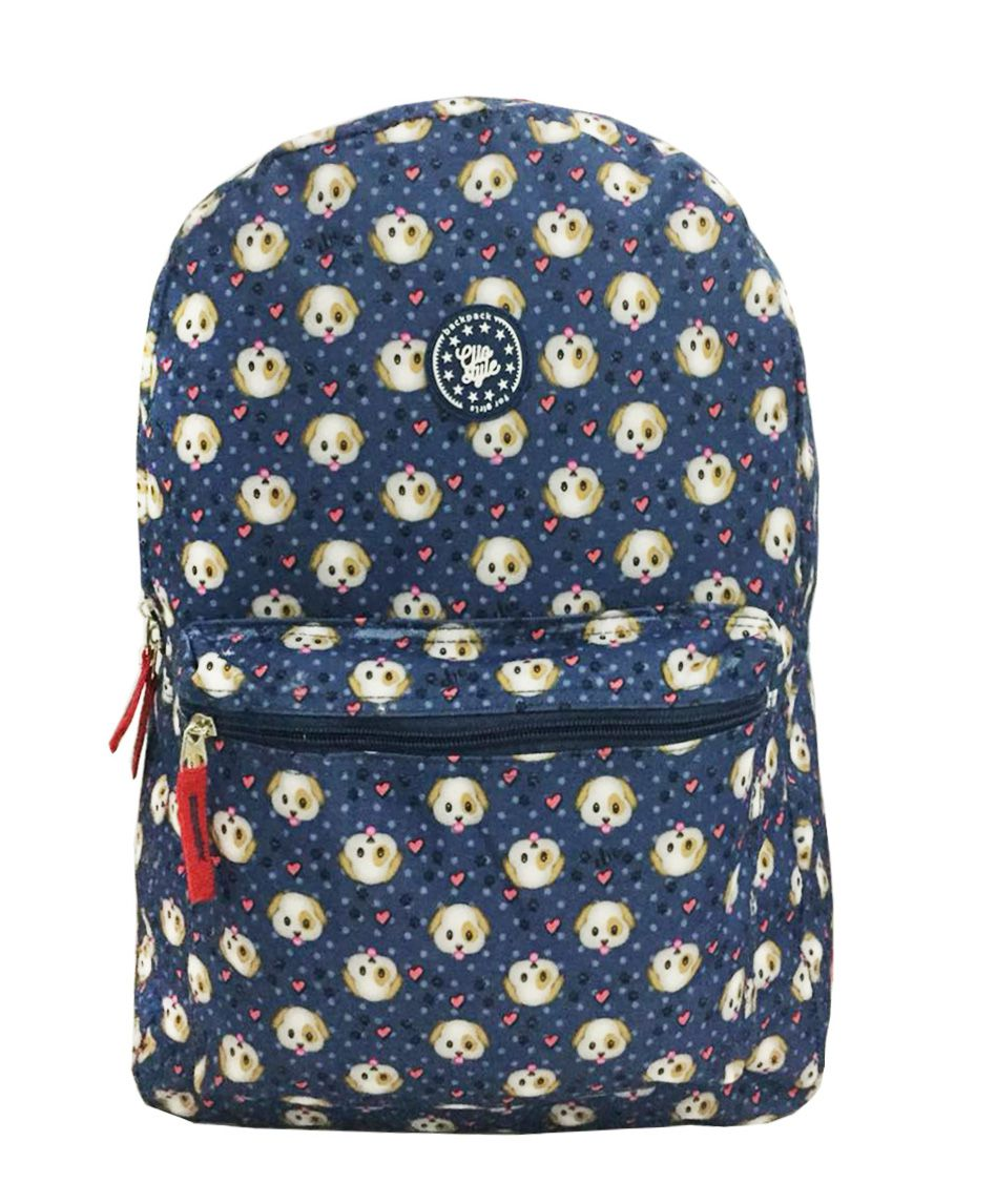 Mochila Escolar Urbano Feminina Juvenil MF8006 Cachorro Azul