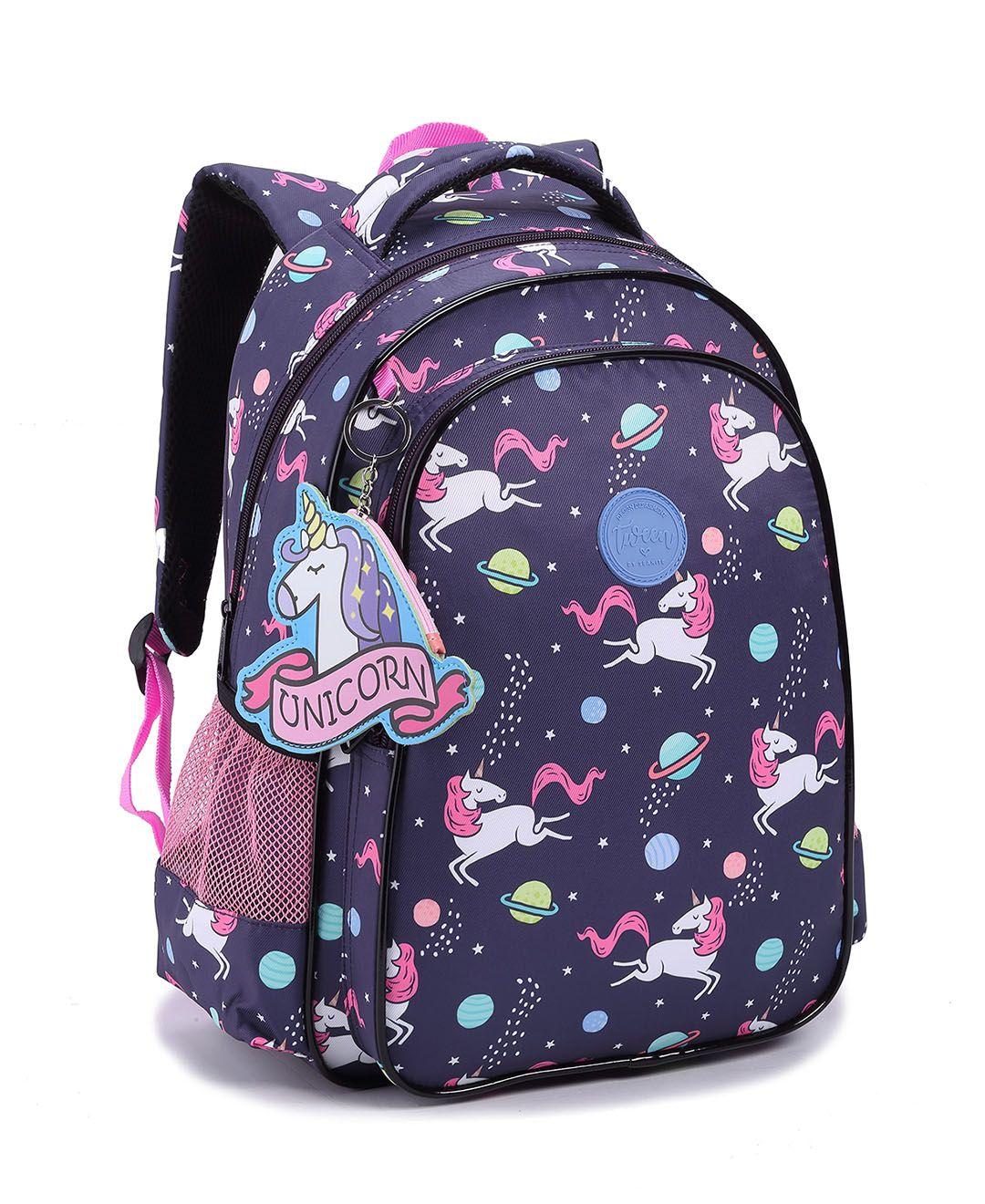 Mochila Feminina Backpack Estampa Unicórnio E Chaveiro
