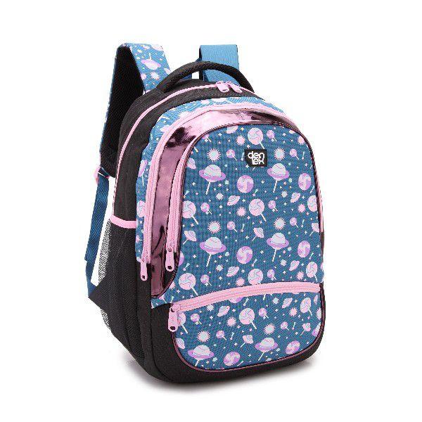 Mochila Feminina Escolar Denlex DL0386 Pirulito Azul Linda