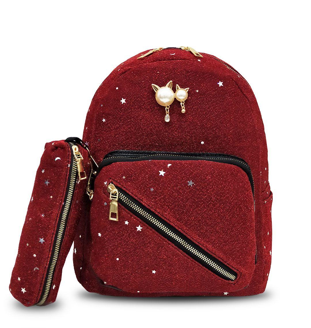 Mochila Feminina Pequena Brilhante Com Estojo Moda Vermelha