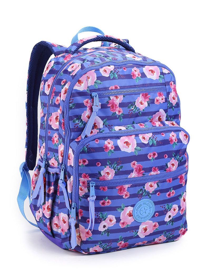 Mochila Feminino  Escolar Faculdade Urbano Florido Azul